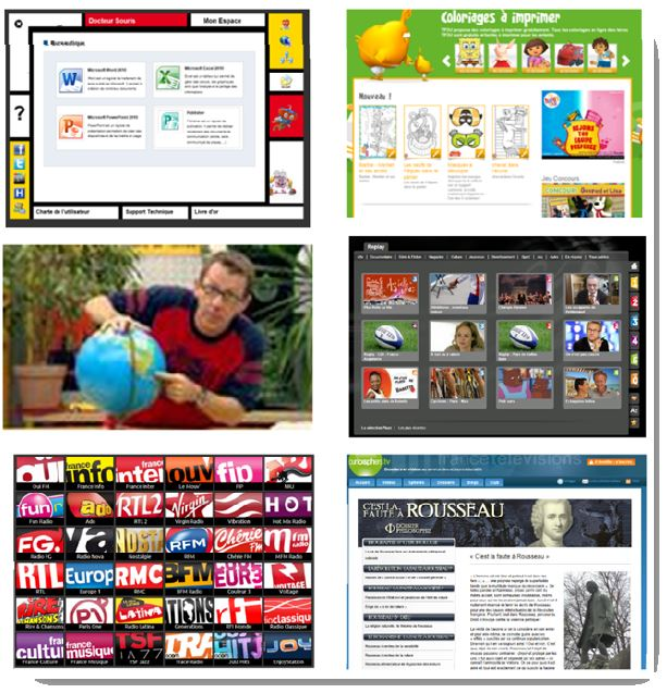 Quelques-unes des propositions du portail : La suite Office (Word, Excel...) des jeux pour les petits, le fameux Jamy et l'ensemble des documentaires de '' C'est pas sorcier'', des chaînes radios, des télévisions, l'Encyclopédie Universalis... Mais aussi 50 heures de dessins animés en 5 séries de 70 épisodes…
