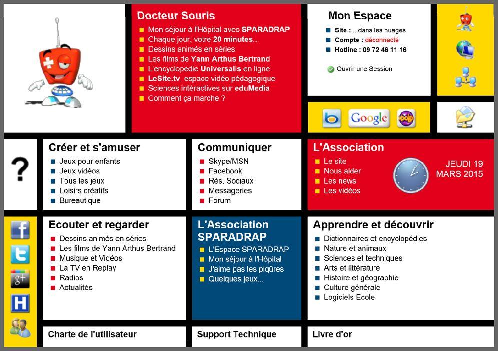Ecran d'accueil du portail présentant les propositions ludoéducatives disponibles sur Docteur Souris.